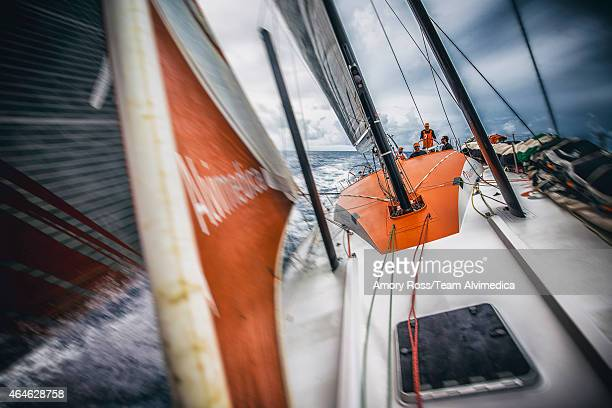 In this handout image provided by the Volvo Ocean Race onboard Team Alvimedica A dark and cloudy sky looms to the south as Alvimedica approaches...