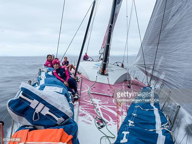 In this handout image provided by the Volvo Ocean Race onboard Team SCA SCA head offshore leaving the Brazilian coast behind during the start of Leg...