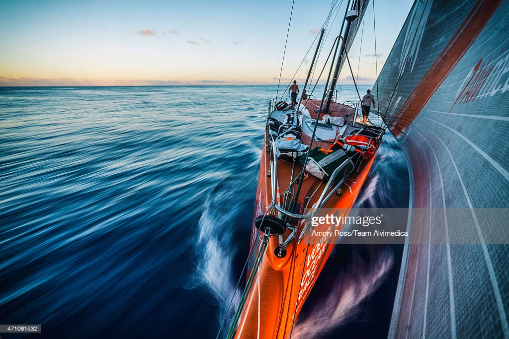 In this handout image provided by the Volvo Ocean Race, onboard Team Alvimedica. After a nerve-racking day of light air drifting the wind slowly fills from the east and progress north towards Recife resumes at sunset during Leg 6 from Itajai to Newport starting on April 19, 2015 in Itajai, Brazil. The Volvo Ocean Race 2014-15 is the 12th running of this ocean marathon. Starting from Alicante in Spain on October 04, 2014, the route, spanning some 39,379 nautical miles, visits 11 ports in eleven countries (Spain, South Africa, United Arab Emirates, China, New Zealand, Brazil, United States, Portugal, France, The Netherlands and Sweden) over nine months. The Volvo Ocean Race is the world's premier ocean yacht race for professional racing crews.