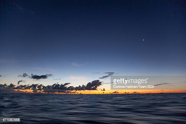 In this handout image provided by the Volvo Ocean Race onboard Team SCA Sunset in the Atlantic during Leg 6 from Itajai to Newport on April 19 2015...