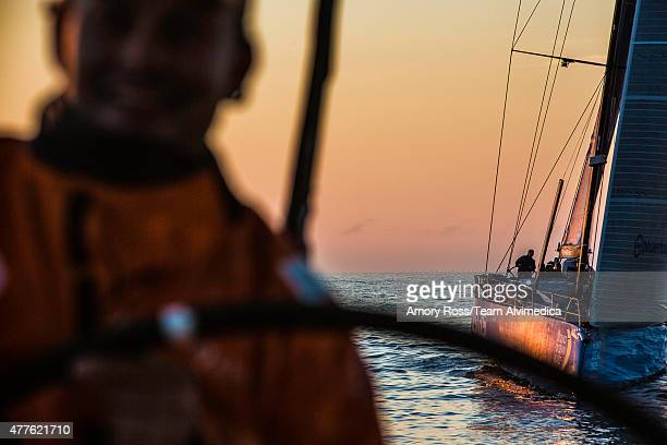 In this handout image provided by the Volvo Ocean Race onboard Team Alvimedica Day 1 Free from the Bay of Biscay the fleet rounds Brest on the way to...