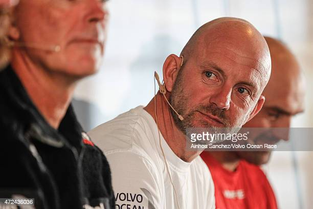 In this handout image provided by the Volvo Ocean Race Skippers Press Conference following Leg 6 Ian Walker during the stopover ahead of Leg 7 from...