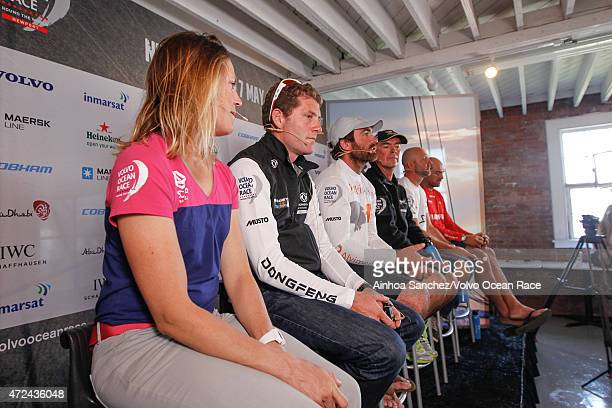 In this handout image provided by the Volvo Ocean Race Skippers Press Conference following Leg 6 Sam Davies Charles Caudrelier Charlie Enright Bouwe...