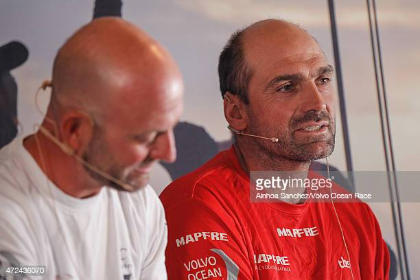 In this handout image provided by the Volvo Ocean Race Skippers Press Conference following Leg 6 Ian Walker and Xabi Fernandez during the stopover...