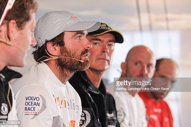 In this handout image provided by the Volvo Ocean Race Skippers Press Conference following Leg 6 Charles Caudrelier Charlie Enright Bouwe Bekking Ian...