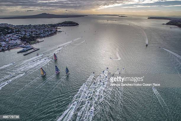 In this handout image provided by the Volvo Ocean Race Start of Leg 5 from Auckland to Itajai on March 18 2015 in Auckland New Zealand The Volvo...