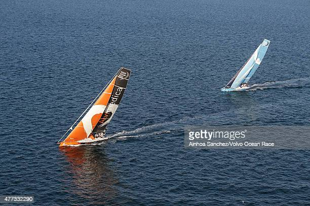 In this handout image provided by the Volvo Ocean Race Team Alvimedica and Team Vestas Wind during the start of Leg 9 from L'Orient via the Hague to...