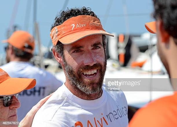 In this handout image provided by the Volvo Ocean Race Team Alvimedica arrives in Sanya in third position after 23 days of sailing between Abu Dhabi...