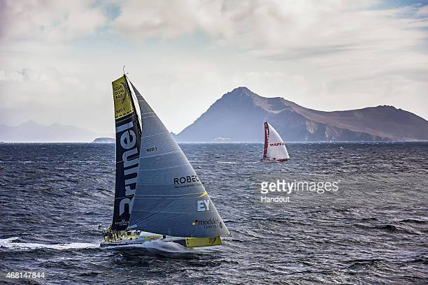 In this handout image provided by the Volvo Ocean Race Team Brunel and MAPFRE rounding Cape Cape Horn March 30 2015 The Volvo Ocean Race 201415 is...