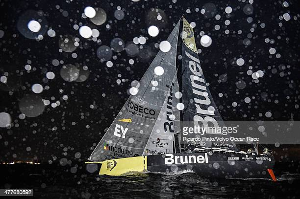 In this handout image provided by the Volvo Ocean Race Team Brunel fourth to arrive in The Hague their home town for a pit stop during Leg 9 from...