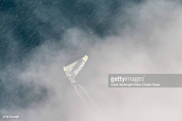 In this handout image provided by the Volvo Ocean Race Team Brunel sailing up the Danish coast during the final stretch of Leg 9 from Lorient to...