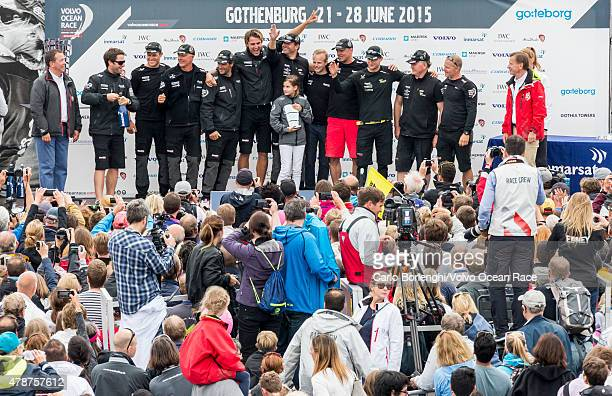 In this handout image provided by the Volvo Ocean Race Team Brunel during the prize giving following the final InPort Race on June 27 2015 in...