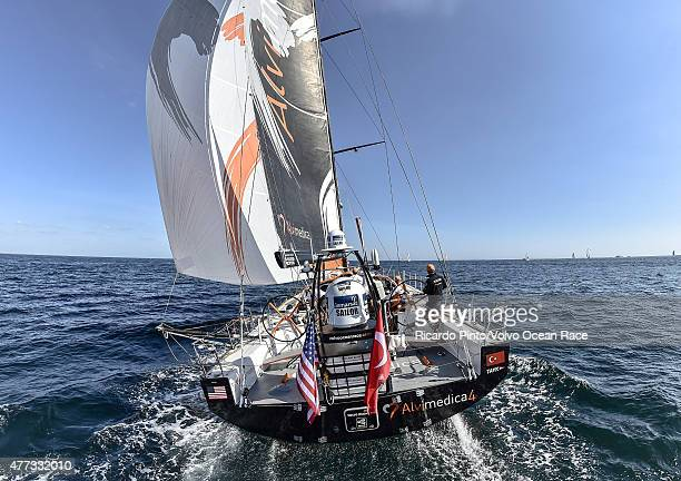 In this handout image provided by the Volvo Ocean Race Team Alvimedica during the start of Leg 9 from L'Orient via the Hague to Gothenburg on June 16...