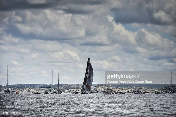 In this handout image provided by the Volvo Ocean Race Team Alvimedica during the finish of Leg 9 from Lorient to Gothenburg via The Hague on June 22...