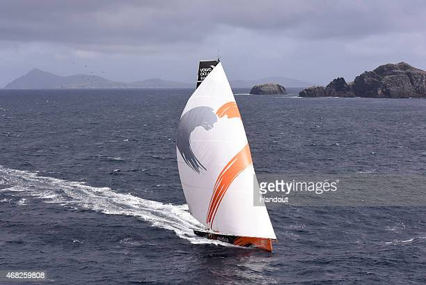 In this handout image provided by the Volvo Ocean Race Team Alvimedica leads the Volvo Ocean 65 fleet round Cape Horn on March 30 2015 The Volvo...