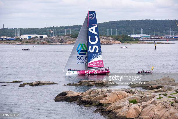 In this handout image provided by the Volvo Ocean Race Team SCA take second place in the final InPort Race on June 27 2015 in Gothenburg Sweden The...