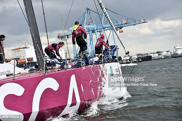 In this handout image provided by the Volvo Ocean Race Team SCA during the finish of Leg 9 from Lorient to Gothenburg via The Hague on June 22 2015...