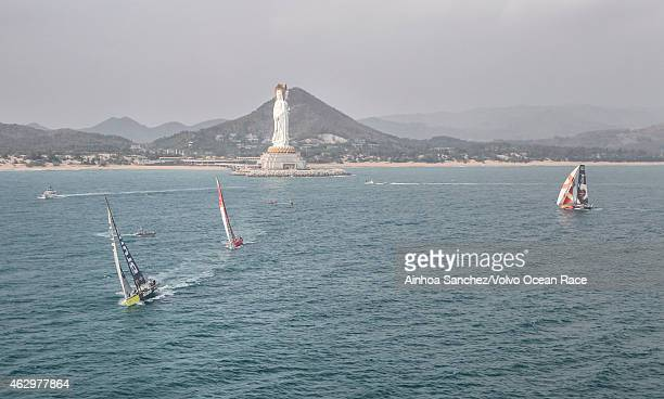 In this handout image provided by the Volvo Ocean Race Team Alvimedica Team Brunel and Dongfeng Race Team pass the waypoint by the statue Guanyin...
