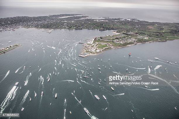 In this handout image provided by the Volvo Ocean Race the fleet during the Team Vestas Wind InPort Race ahead of Leg 7 from Newport to Lisbon on May...