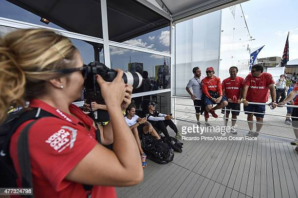 In this handout image provided by the Volvo Ocean Race The teams get involved with the Volvo Pavilion activities before taking to the water for the...