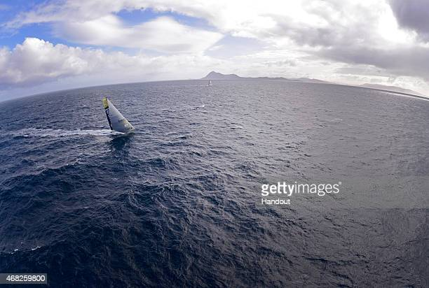 In this handout image provided by the Volvo Ocean RaceTeam Brunel and MAPFRE rounding Cape Horn on March 30 2015 The Volvo Ocean Race 201415 is the...