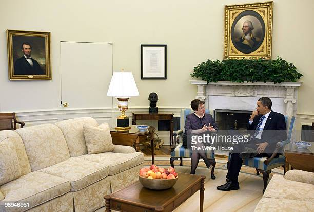 In this handout image provided by the White House, U.S. President Barack Obama meets with Solicitor General Elena Kagan in the Oval Office April 30,...