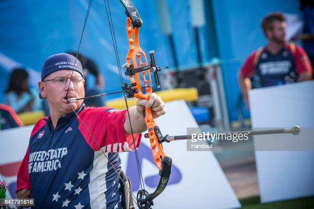 In this handout image provided by the World Archery Federation, Jeff Fabry of USA shoots during the W1 men finals during the 2017 World Archery Para...