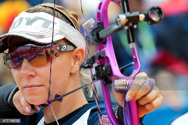 In this handout image provided by the World Archery Federation, Maja Marcen of Columbia shoots during the compound womens team gold final at Archery...