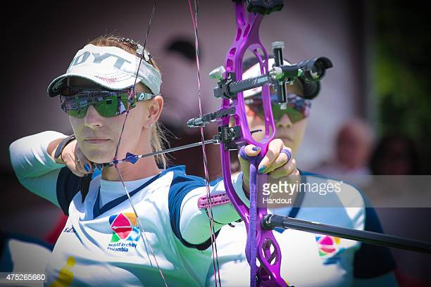 In this handout image provided by the World Archery Federation, Maja Marcen shoots during the compound women's gold final at Archery World Cup Stage...
