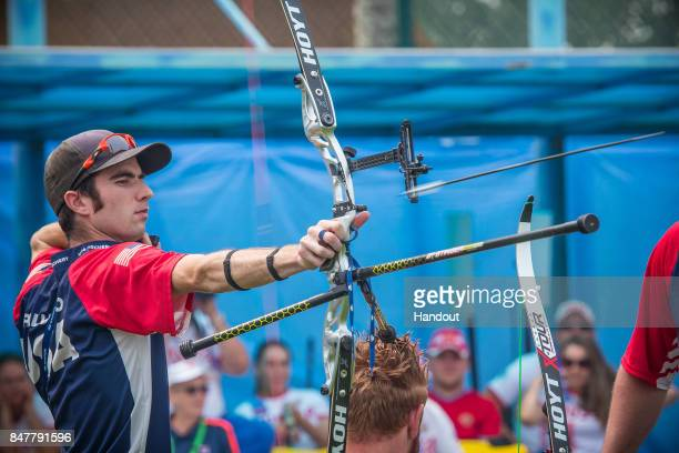 In this handout image provided by the World Archery Federation Timothy Palumbo of USA shoots during the recurve men open team during the 2017 World...