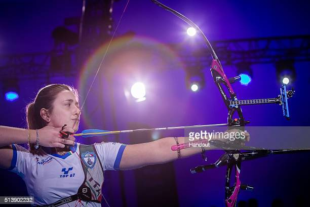 In this handout image provided by the World Archery Federation Claudia Mandia shoots during the recurve womens bronze final at the World Archery...