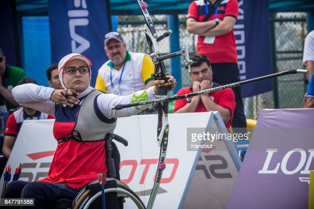 In this handout image provided by the World Archery Federation Zahra Nemati of Iran during the 2017 World Archery Para Championships on September 16...