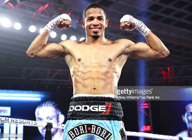 In this handout image provided by Top Rank, Felix Verdejo poses after defeating Will Madera during their lightweight bout at MGM Grand Conference...