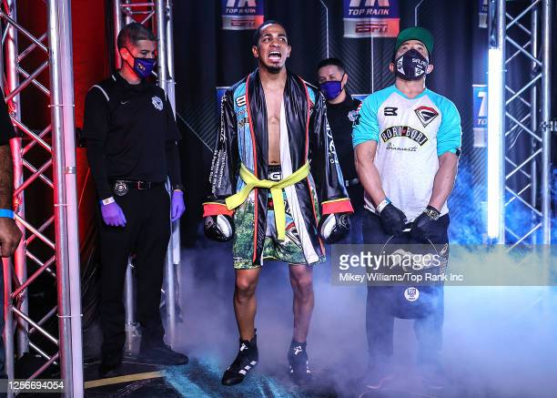 In this handout image provided by Top Rank, Felix Verdejo walks to the ring before his lightweight bout against Will Madera at MGM Grand Conference...