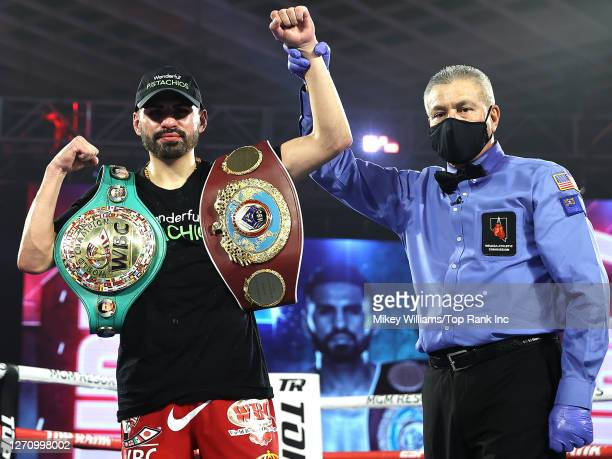 In this handout image provided by Top Rank, Jose Ramirez celebrates defeating Viktor Postol in a Jr. Welterweight WBC/WBO World Title Bout at MGM...