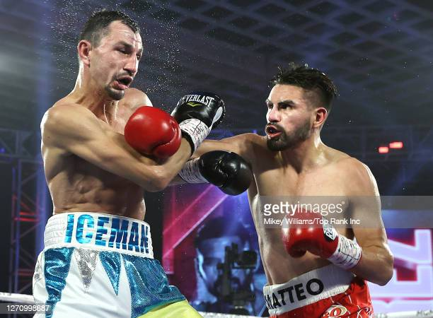In this handout image provided by Top Rank, Jose Ramirez fights Viktor Postol during a Jr. Welterweight WBC/WBO World Title Bout at MGM Grand...