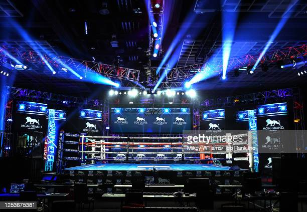 In this handout image provided by Top Rank, the ring is seen before the junior welterweight bout between Alex Saucedo and Sonny Fredrickson at MGM...