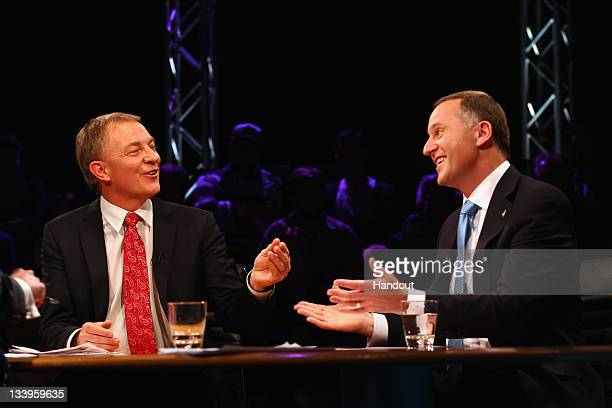 In this handout image provided by TVNZ, National Party Leader John Key and Labour Party Leader Phil Goff debate issues during the TVNZ Leader Debate...