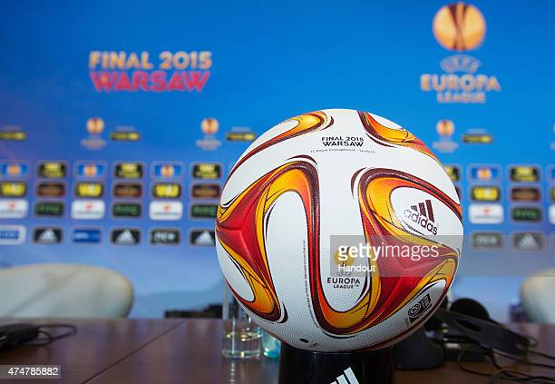 In this handout image provided by UEFA a Europa League Final match ball is displayed during an FC Dnipro Dnipropetrovsk press conference on the eve...