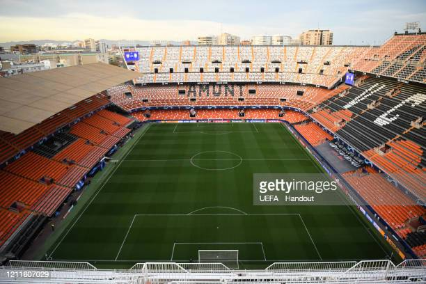 In this handout image provided by UEFA, A general view inside the stadium prior to the UEFA Champions League round of 16 second leg match between...
