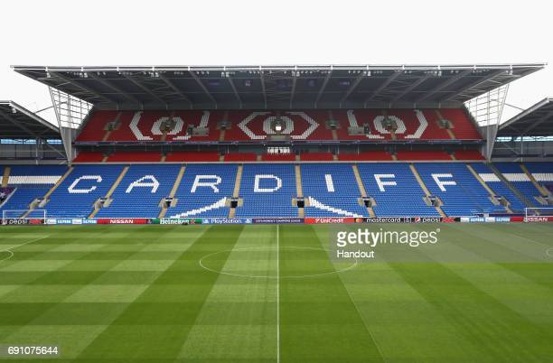 In this handout image provided by UEFA a general view inside the ground prior to the UEFA Women's Champions League Final between Lyon and Paris Saint...