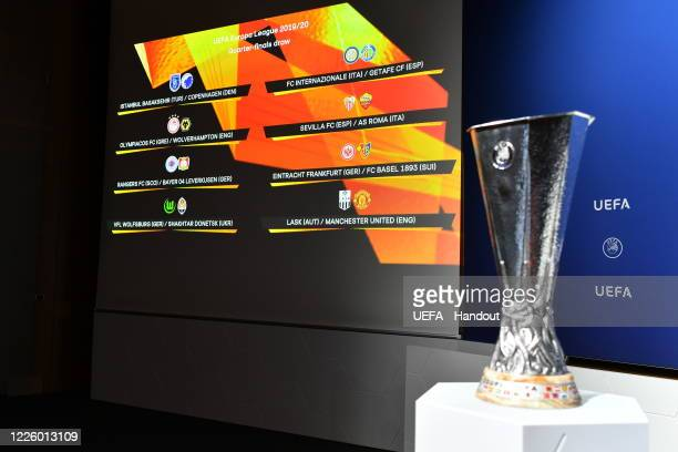 In this handout image provided by UEFA a general view prior to the UEFA Europa League 2019/20 Quarterfinal Semifinal and Final draw at the UEFA...