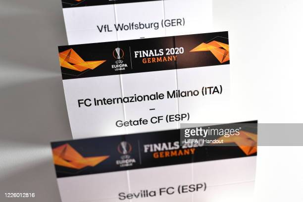 In this handout image provided by UEFA a view of the draw cards prior to the UEFA Europa League 2019/20 Quarterfinal Semifinal and Final draw at the...
