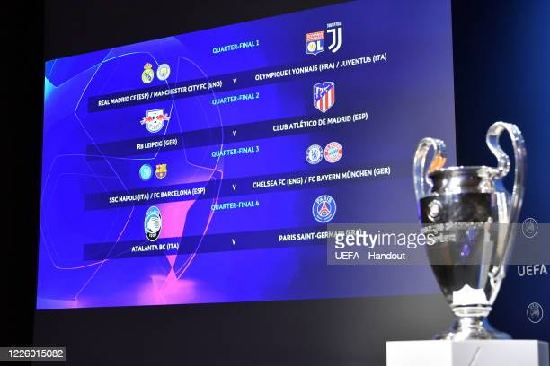 In this handout image provided by UEFA a view of the Quaterfinal draw results as shown on the big screen following the UEFA Champions League 2019/20...