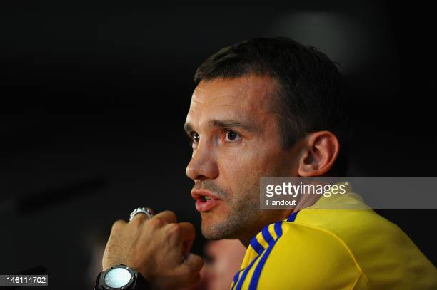 In this handout image provided by UEFA Andriy Shevckenko of Ukraine faces the media during a UEFA EURO 2012 press conference on June 10 2012 in Kiev...