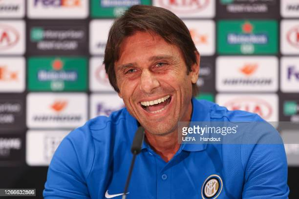 In this handout image provided by UEFA, Antonio Conte, Head Coach of Inter Milan reacts during a press conference ahead of their UEFA Europa League...