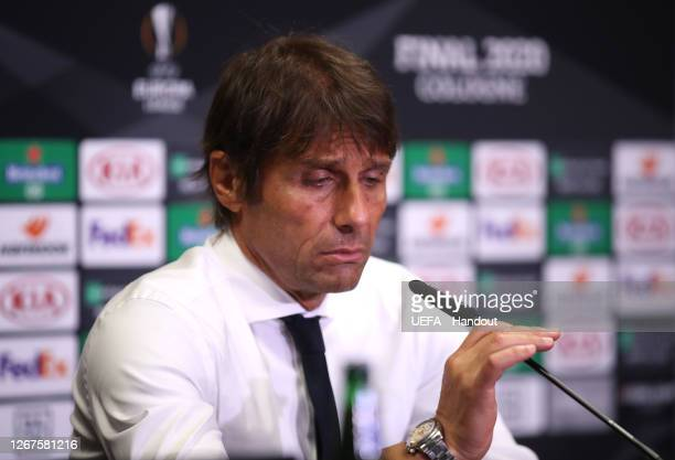 In this handout image provided by UEFA Antonio Conte Head Coach of Inter Milan speaks to the media during a press conference following the UEFA...