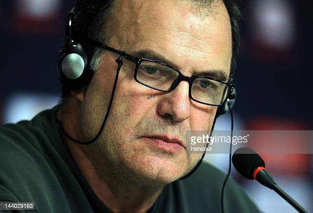 In this handout image provided by UEFA Athletic Bilbao coach Marcelo Bielsa looks on during the Athletic Bilbao press conference ahead of the UEFA...