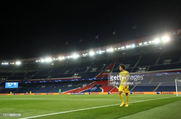 In this handout image provided by UEFA Axel Witsel of Borussia Dortmund walks around the pitch after being subbed during the UEFA Champions League...