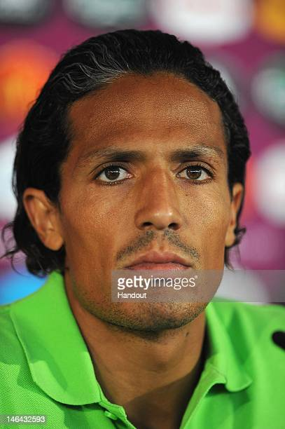 In this handout image provided by UEFA Bruno Alves of Portugal talks to the media during a UEFA EURO 2012 press conference at the Metalist Stadium on...